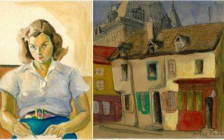 Εργα της Νέλλης Ανδρικοπούλου. «Αυτοπροσωπογραφία στην οδό Σκουφά 21» (1940-49) και «Σπίτια στην Αμιένη» (1946-47). Από την αναδρομική έκθεση στο Μορφωτικό Ιδρυμα Εθνικής Τραπέζης.