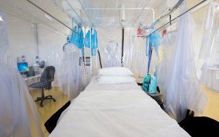 Ο θάλαμος απομόνωσης στο νοσοκομείο «Ρόγιαλ Φρι» του Λονδίνου έτοιμος να υποδεχθεί το πρώτο κρούσμα που διαγνώστηκε στη Βρετανία, μία νοσηλεύτρια που επέστρεψε από τη Σιέρα Λεόνε.