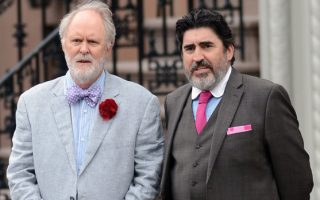 September 16, 2013: Alfred Molina and John Lithgow photographed today filming scenes for the movie 'Love Is Strange' in New York City. Mandatory Credit: Elder Ordonez/INFphoto.com Ref: infusny-160 sp 