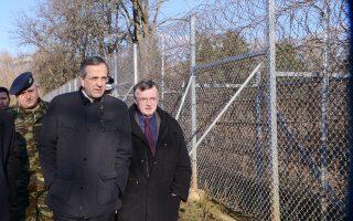 Ο Αντ. Σαμαράς ξεκίνησε, χθες, τη διήμερη περιοδεία του στη Θράκη από στρατιωτικό φυλάκιο στις Καστανιές του Εβρου.