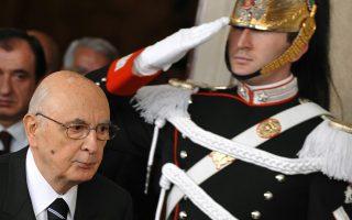 O Ιταλός πρόεδρος, ο μακροβιότερος στην ιστορία της χώρας, Τζόρτζιο Ναπολιτάνο, προχθές στη Ρώμη.