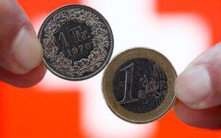 Το ελβετικό φράγκο κυμαινόταν χθες κοντά στην ισοτιμία 1:1 προς το ευρώ όταν τα τελευταία τρία χρόνια ήταν 1,20 προς 1 ευρώ.