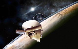 Καλλιτεχνική απεικόνιση του διαστημικού σκάφους «Νέοι Ορίζοντες» καθώς προσεγγίζει τον Πλούτωνα.