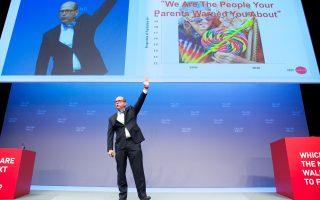 Ο διευθυντής και ιδρυτής του Εργαστηρίου Γήρανσης του Τεχνολογικού Ινστιτούτου της Μασαχουσέτης (MIT Age Lab), Τζόζεφ Κάφλιν, στην ομιλία του στο παγκοσμίου κύρους συνέδριο Falling Walls στο Βερολίνο.