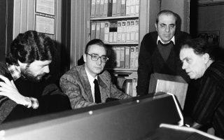 1987: Νίκος Τζαννιδάκης, Μάκης Μάτσας, Στέλιος Καζαντζίδης και Βασίλης Βασιλειάδης στην τελευταία ηχογράφηση στη Μinos, «Ο δρόμος της επιστροφής».