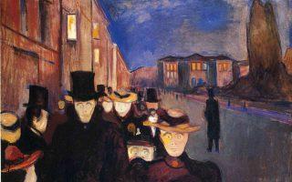 Εντβαρντ Μουνχ, «Περίπατος στην οδό Καρλ Γιόχαν», έργο του 1892, δύο χρόνια μετά την κυκλοφορία της «Πείνας» του Κνουτ Χάμσουν.