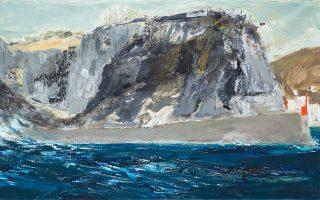 Π. Τέτσης: «Βράχια της Υδρας», 2011-2014, λάδι σε μουσαμά, 124 x 212 εκ.