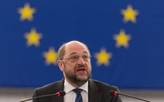 epa04531833 Martin Schulz, President of the European Parliament, makes a speech about the Preparations for the European Council meeting in the European Parliament in Strasbourg, France, 17 December 2014.  EPA/PATRICK SEEGER