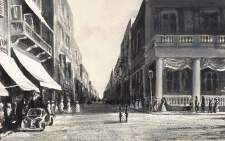 «Οδός Σερίφ Πασά, Χρηματιστήριο Βάμβακος»  (στον δρόμο που γεννήθηκε ο Κ. Π. Καβάφης), μελάνι σε χαρτί, 2013, 26 x 36 εκ.