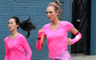 EXCLUSIVE: Supermodel Karlie Kloss on the set of a photoshoot for new Nike running shoes.
