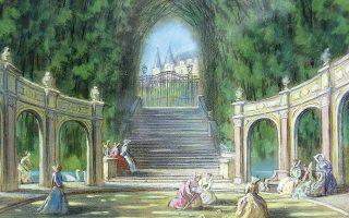 Εργο του σκηνογράφου - ζωγράφου Πάνου Αραβαντινού που βρίσκεται σε αποθήκη της Πινακοθήκης Πειραιά.