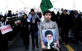 Πορτρέτο του αγιατολάχ Αλί Χαμενεΐ, στην 36η επέτειο της επανάστασης, την περασμένη Τρίτη.