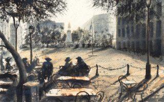 «H Iουστίνη με τον Nτάρλυ στην πλατεία Mοχάμεντ Aλι», έργο Aνδρέα Γεωργιάδη, μελάνι σε χαρτί, από την ενότητα «Το Aλεξανδρινό Kουαρτέτο» του Λόρενς Nτάρελ.