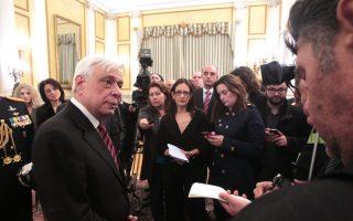 Ο Πρόεδρος της Δημοκρατίας Προκόπης Παυλόπουλος συνομιλεί με πολιτικούς συντάκτες στο Προεδρικό Μέγαρο, Σάββατο 14 Μαρτίου 2015. Ο Πρόεδρος της Δημοκρατίας Προκόπης Παυλόπουλος δέχτηκε στο Προεδρικό Μέγαρο την εθιμοτυπική υποβολή συγχαρητηρίων από τον πρωθυπουργό, τους πολιτικούς αρχηγούς, την πρόεδρο της Βουλής, καθώς επίσης και από υπουργούς, βουλευτές, ευρωβουλευτές, τον Αρχιεπίσκοπο και εκπροσώπους δογμάτων , το διπλωματικό σώμα, δικαστικούς και την ηγεσία των ενόπλων δυνάμεων. ΑΠΕ-ΜΠΕ/ΑΠΕ-ΜΠΕ/Παντελής Σαίτας