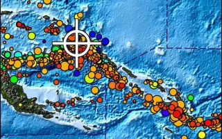 epa04686170 A handout picture released by the US National Oceanic and Atmospheric Administration (NOAA) shows a shakemap of the region (white cross) in Papua New Guinea (PNG) where a 7.5 to 7.6 magnitude earthquake occured on 30 March 2015, at a depth of 40 km. The US National Oceanic and Atmospheric Administration issued a Tsunami warning stating that Tsunami waves reaching one to three meters above the tide level are possible along some coasts of PNG.  EPA/NOAA  HANDOUT EDITORIAL USE ONLY