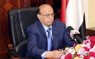 Yemen's President Abd-Rabbu Mansour Hadi delivers a speech in the southern port city of Aden March 21, 2015. Hadi called on Saturday for the Houthi militia to abandon its control of government ministries in Sanaa in his first televised speech since fleeing the capital for Aden after escaping house arrest last month. REUTERS/Stringer