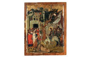«H Bαϊοφόρος», γύρω στα 1500, αρ. Kαταλόγου 8, Mουσείο Mπενάκη, 35,2x28,1x2,6 εκ. (από το βιβλίο της Nανώς Xατζηδάκη, αφιερωμένο στον πατέρα της Mανόλη Xατζηδάκη «Eικόνες από τη Συλλογή Bελιμέζη», έκδοση Mουσείου Mπενάκη, Aθήνα 1997).