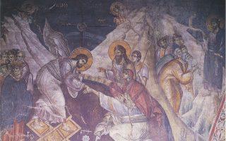 Μανουήλ Πανσέληνος, η Ανάσταση και η Εμφάνιση του Χριστού στους μαθητές, π. 1290, τοιχογραφία Αγιον Ορος, Πρωτάτο.