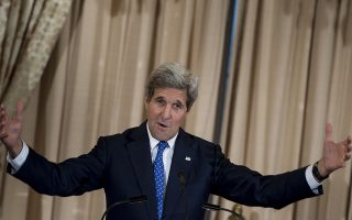 US Secretary of State John Kerry speaks during a reception celebrating the Diplomatic Culinary Partnership at the US Department of State April 21, 2015 in Washington, DC. AFP PHOTO/BRENDAN SMIALOWSKI