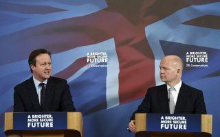 Ο πρωθυπουργός Κάμερον και ο υπουργός Εξωτερικών, Ουίλιαμ Χέιγκ, μίλησαν χθες σε οπαδούς των Συντηρητικών, στο Λίνκολν.