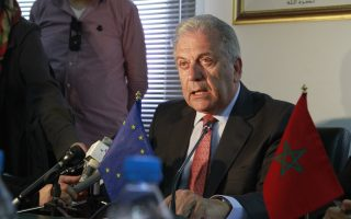 EU migration commissioner Dmitris Avramopoulos discusses the renewed pressure on Europe's borders by immigrants on April 17, 2015, during a meeting in Rabat, Morocco. The EU head of migration Avramopoulos, says member states must take up their responsibility for the flood of migrants. (AP Photo/Paul Schemm)