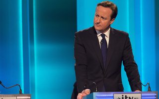 epa04690481 Conservative leader British Prime Minister David Cameron during the live television debate of the United Kingdom party leaders hosted by British tv station ITV, at the Salford Media Centre in Greater Manchester, northern England, late 02 April 2015. The live head-to-head tv debate features the leaders of seven parties – Conservative, Labour, UKIP, Liberal-Democrats, Green Party, Plaid Cymru (Wales) and  Scottish National Party - and will be the only one taking place before the British General Election on 07 May. The result is expected to be a close run thing by the ruling Conservatives and opposition Labour Party.  EPA/KEN MCKAY / ITV / REX Please note this image is available for immediate publication.It remains ITV copyright at all times and is supplied FREE of charge for editorial use only until 2nd May 2015.NO archive after the 2nd May 2015.Editorial Use Only/No Merchandising