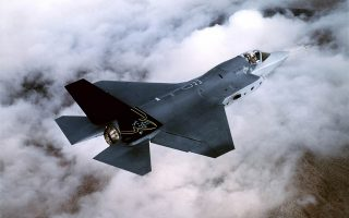 The Lockheed Martin X-35, Joint Strike Fighter is pictured during flight testing at Edwards Air Force Base, California, in this undated photograph. The stealthy Joint Strike Fighter being developed by the United States and eight other countries is to be named the