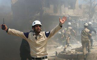 Εικόνα καταστροφής στο Χαλέπι, ύστερα από τον χθεσινό βομβαρδισμό κυβερνητικών αεροσκαφών.