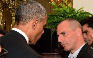 Ο υπουργός Οικονομικών Γιάνης Βαρουφάκης συζητά με τον Πρόεδρο των Ηνωμένων Πολιτειών Μπαράκ Ομπάμα. Φωτογραφία, ΑΠΕ-ΜΠΕ/ΑΠΕ-ΜΠΕ/Δημήτρης Παναγος