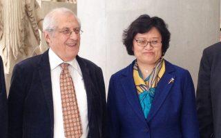 Η υφυπουργός Παιδείας της Κίνας Li Welhong στο Μουσείο της Ακρόπολης μαζί με τον πρόεδρο του Δ.Σ. Δημήτρη Παντερμαλή.