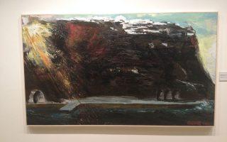 Π. Τέτσης Σαντορίνη, 2011-2013, λάδι σε μουσαμά, 124 x 210 εκ. Δεξιά, γραμμένο με κόκκινο χρώμα «στον Αριστείδη, ο συμμαθητής του Π. Τέτσης». Επάνω δεσπόζει η Οία, κάτω το Αμμούδι.
