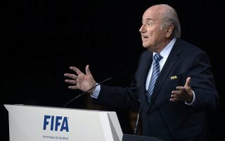 epa04774646 Re-elected FIFA President Joseph S. Blatter delivers his speech during the 65th FIFA Congress held at the Hallenstadion in Zurich, Switzerland, 29 May 2015. Blatter has been re-elected as FIFA president for a fifth term, chosen to lead world soccer despite separate U.S. and Swiss criminal investigations into corruption. The 209 FIFA member federations gave the 79-year-old Blatter another four-year term on Friday after Prince Ali bin al-Hussein of Jordan conceded defeat after losing 133-73 in the first round.  EPA/WALTER BIERI
