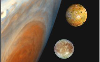 Ο Δίας και οι δορυφόροι του. Από πάνω: Ιώ, Ευρώπη, Γανυμήδης και Καλλιστώ.