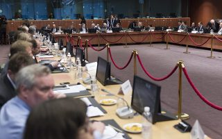 epa04622852 A general view over an Eurogroup meeting of Finance ministers at EU council headquarters, in Brussels, Belgium, 16 February  2015. The Eurogroup finance ministers meet to discuss on a new bailout deal with Greece and finding common ground with Greek Finance Minister Yanis Varoufakis, who is seeking to renegotiate his country's bailout because of the painful austerity measures it is associated with.  EPA/THIERRY MONASSE