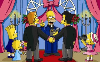 epa000374146 Undated handout photo issued by Twentieth Century Fox Film Corporation, Sunday, 20 February  2005, of  Homer Simpson discovering the monetary value of gay union, as he becomes an ordained minister via the Internet and soon marries everyone and everything in town including one of Springfield's own who comes out of the closet. The episode is set to be broadcast in the US tonight and first in the UK on Sky One this May.  EPA/- UK AND IRELAND OUT