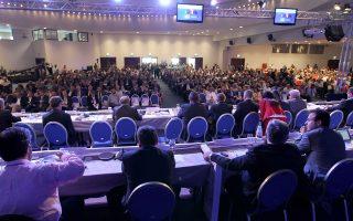 Στιγμιότυπο από την έναρξη, χθες, των εργασιών του συνεδρίου της Κεντρικής Ενωσης Δήμων Ελλάδος.