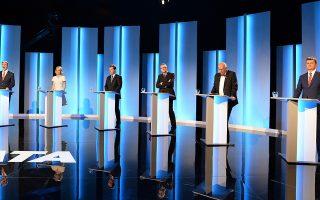 Υποψήφιοι στις προεδρικές εκλογές στη διάρκεια συμμετοχής τους σε τηλεοπτική εκπομπή.