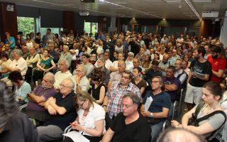 Στιγμιότυπο από τη χθεσινή εκδήλωση στελεχών του ΣΥΡΙΖΑ, στην ΕΣΗΕΑ.