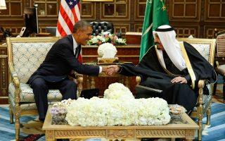 Ο Αμερικανός πρόεδρος Ομπάμα και ο βασιλιάς Σαλμάν της Σαουδικής Αραβίας σε παλαιότερη συνάντηση.