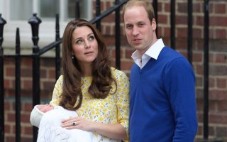 Prince William, Duke of Cambridge and Catherine, Duchess Of Cambridge depart the Lindo Wing with their new baby daughter at St Mary's Hospital on May 2, 2015 in London, England. The Duchess was safely delivered of a daughter at 8:34am this morning weighing 8lbs 3oz.<P><noscript><img width=
