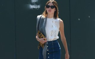 EXCLUSIVE: Alexa Chung looks stylish in a denim skirt as she runs errands in the East Village, New York City.<P><noscript><img width=