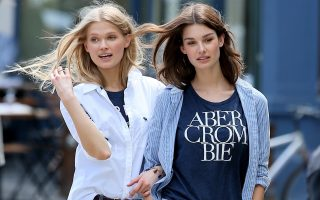 Fashion models Vita Sidorkina and Cameron Russell shoot an Abercrombie & Fitch campaign, in the West Village in New York City.<P><noscript><img width=