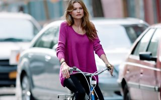 Behati Prinsloo seen with a bicycle while doing a Victoria Secret photoshoot in NYC.<P><noscript><img width=
