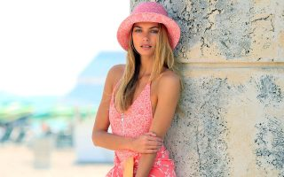 Jessica Hart goes barefoot for a fashion editorial shoot for Louis Vuitton in South Beach, Florida