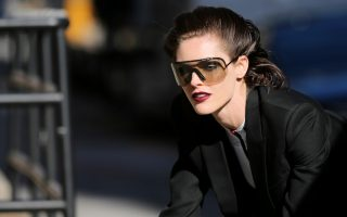 Fashion model Hilary Rhoda walks back to her trailer after shooting an editorial for Italian Vogue in Tribeca in New York City
