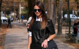 STREET STYLE: Fashion Vibe fashion blogger and buyer Zina Charkoplia is seen wearing a Uterque dress and shirt, H&M hat and Marc Jacobs sunglasses outside Grand Palais on September 24, 2014 in Paris, France.<P><noscript><img width=