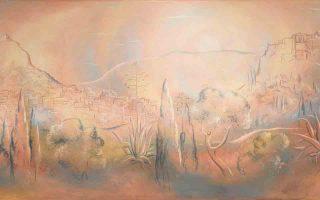 Τοπίο Αθήνας. Η πανοραμική αποτύπωση του ανοιξιάτικου αθηναϊκού τοπίου, στη σύγχρονη με τον καλλιτέχνη μορφή του. Οι γεμάτες πνευματικότητα αφαιρετικές μορφές του Γουναρόπουλου είναι απόλυτα μοντέρνες.
