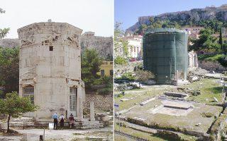 Ο Πύργος χρησιμοποιήθηκε και ως τεκές των δερβίσηδων του Τάγματος των Μεβλεβήδων (αριστερά). Με την τοποθέτηση και του εξωτερικού ικριώματος, έγινε αντιληπτή η πραγματική έκταση των προβλημάτων (δεξιά).