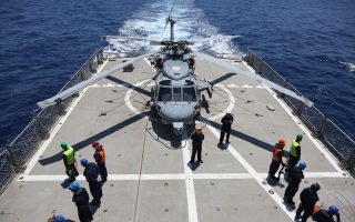 Στιγμιότυπο από άσκηση του Πολεμικού Ναυτικού στο Αιγαίο.