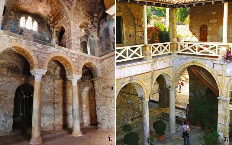 1. Aποψη από το αναστηλωμένο εσωτερικό του ναού της Παναγίας Οδηγήτριας - 2. Στη μικρή δροσερή αυλή του Μουσείου Μυστρά εκτίθενται κιονόκρανα και λίγες εβραϊκές επιγραφές.